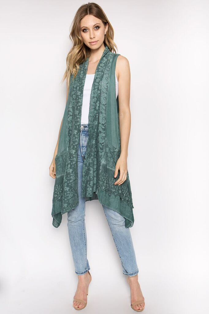 Destined For Greatness Lace Accent Vest - Teal