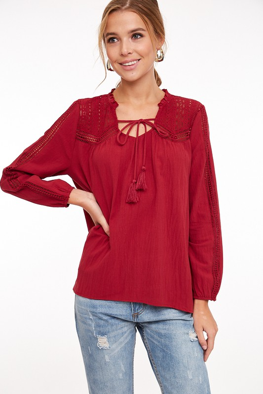 Walk This Way Lace Accent Top - Red