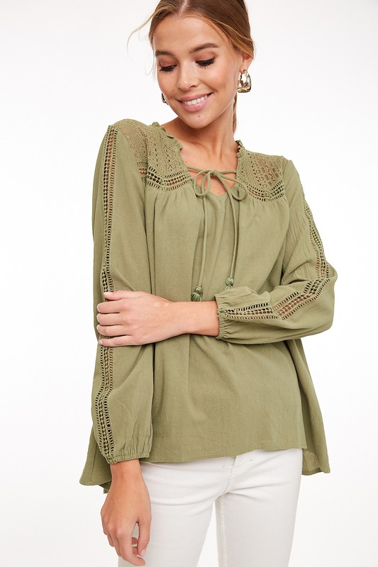 Walk This Way Lace Accent Top - Olive