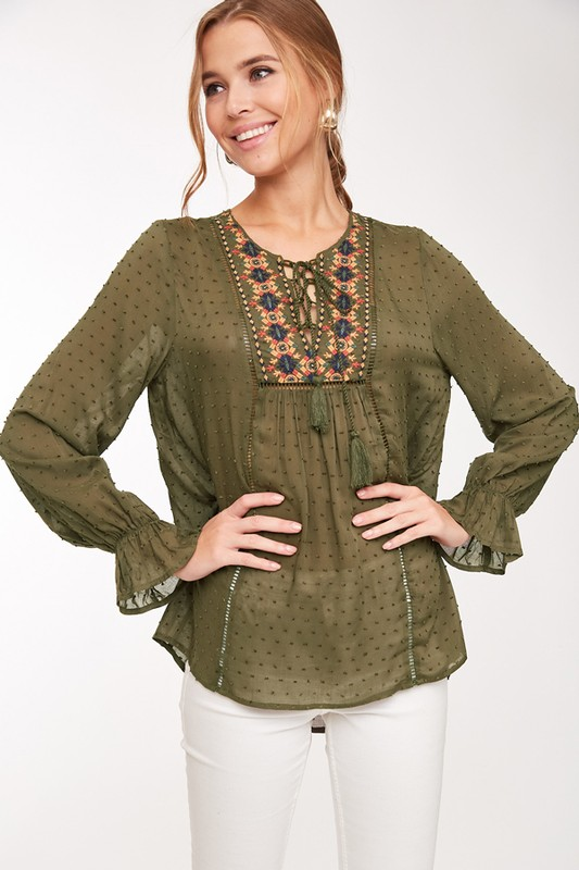 Boho Babe Olive Embroidered Top