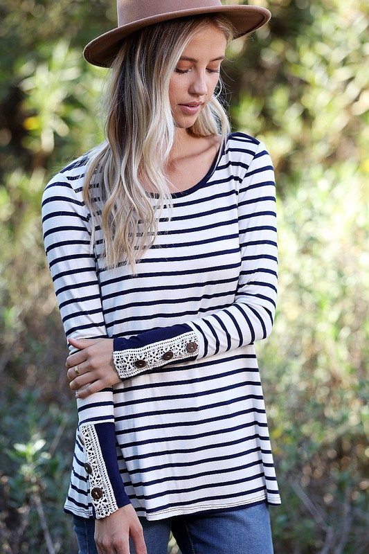 Navy Striped Top with Lace Cuff