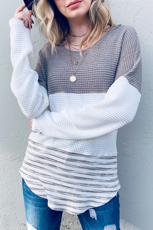 Colorblock Casual Top With Lace Accent