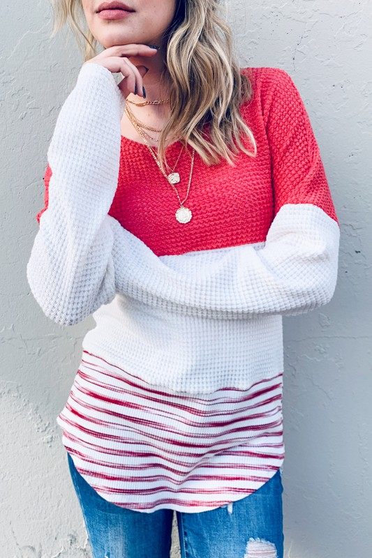 Colorblock Casual Top With Lace Accent - Grapefruit