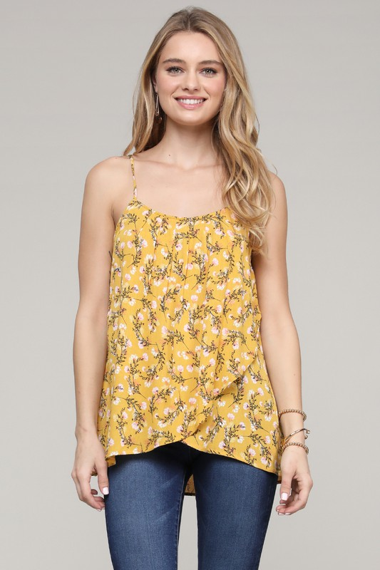 Overlap Floral Camisole Top - Yellow