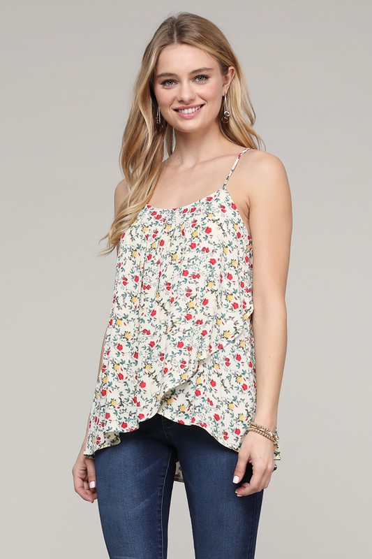 Overlap Floral Camisole Top - Natural