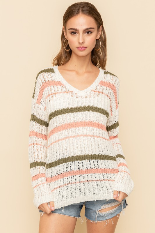 Joy V-Neck Stripe Sweater