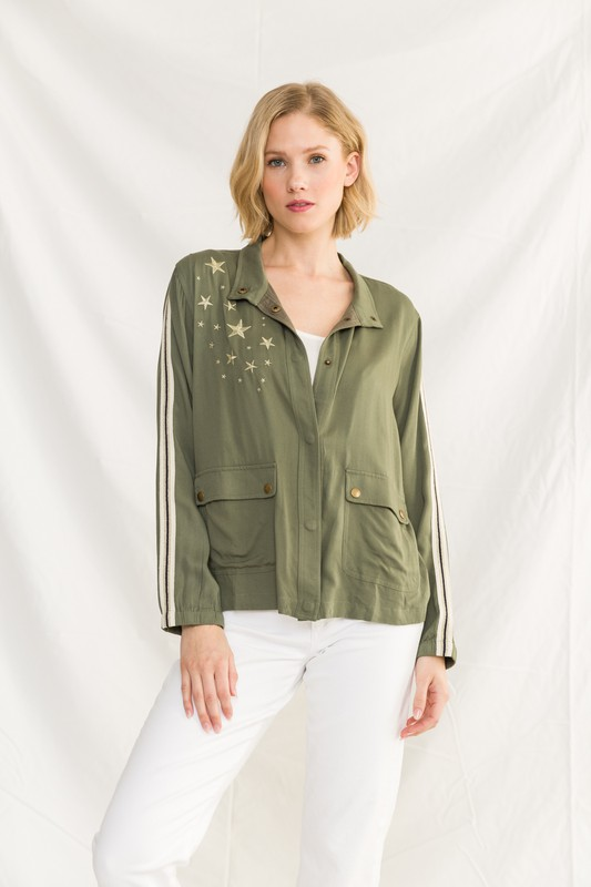 Sporty Olive Jacket With Stars