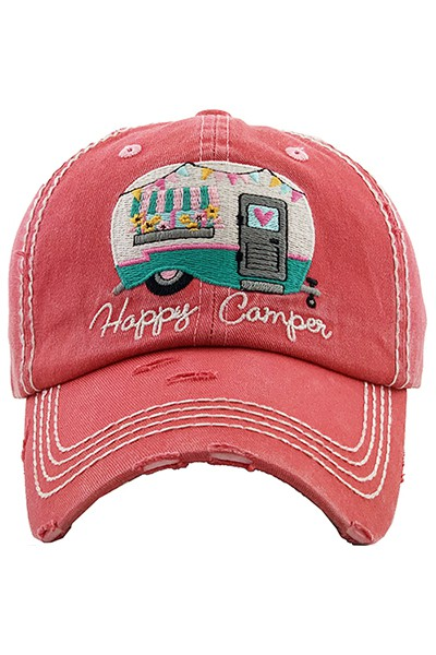 Happy Camper Baseball Cap - Hot Pink