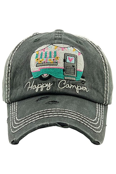Happy Camper Baseball Cap - Black