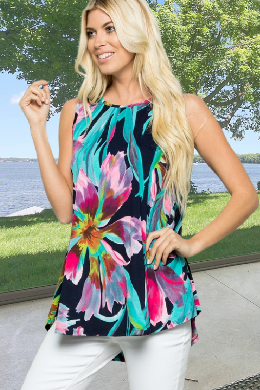 Navy Floral Sleeveless Top
