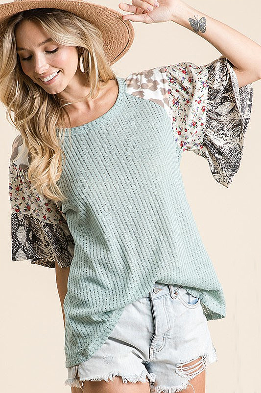Always On Pointelle Knit Top - Sage