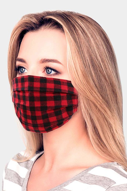 Adult Buffalo Check Face Mask - Red