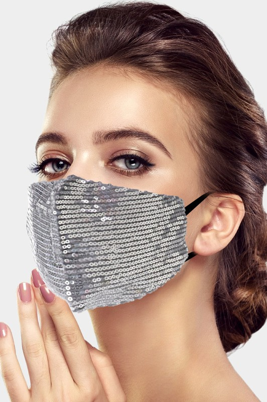 Adult Fashionable Sequin Face Mask - Silver
