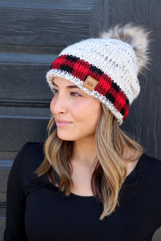 Panache Red Buffalo Check Accent Beanie with Pom