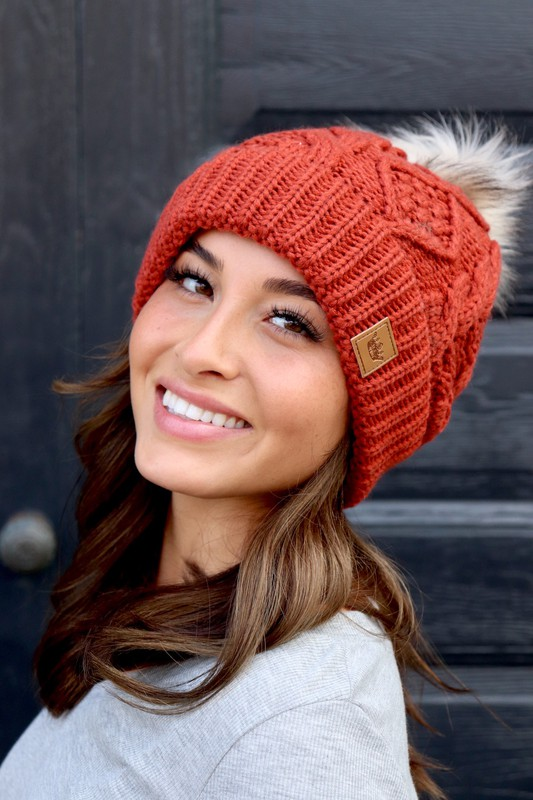 Panache Rust Orange Cable Knit Beanie