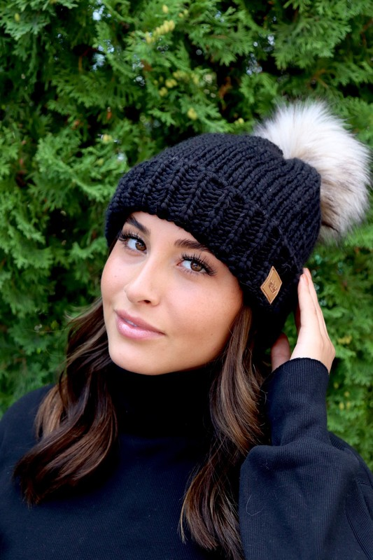 Panache Black Fleece Lined Beanie With Pom Pom