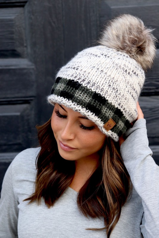 Panache Olive Buffalo Check Accent Beanie with Pom