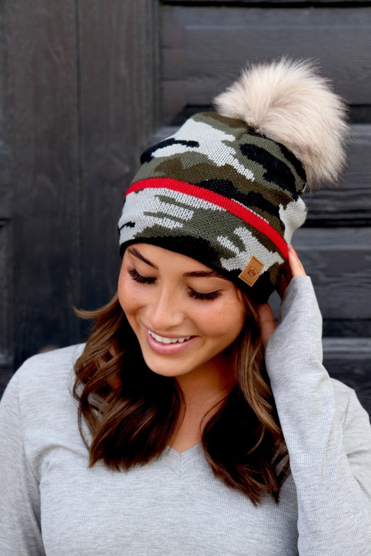 Panache Camo With Red Stripe Knit Beanie