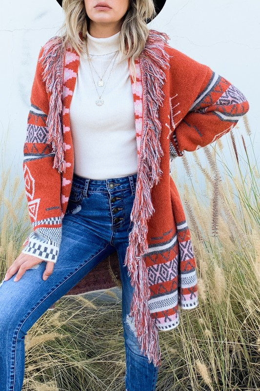 Ask Me Why Aztec Print Fringe Cardigan