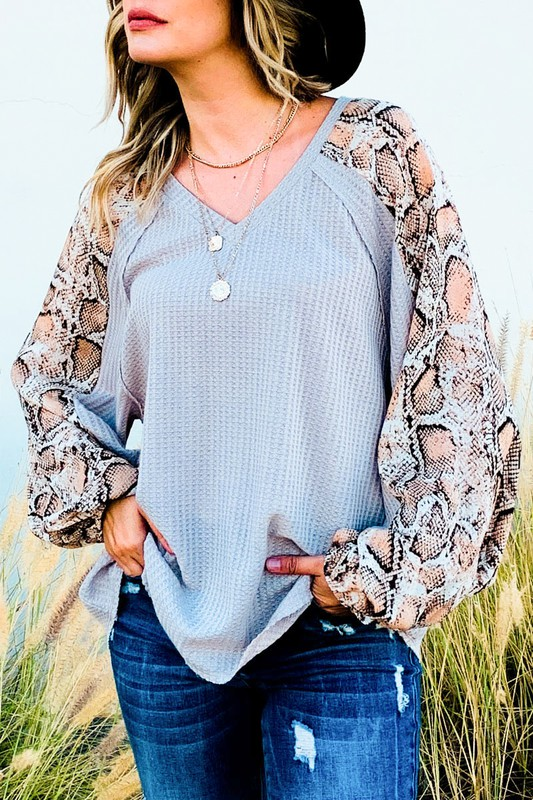 Absolute Dream Waffle Weave Top With Snake Print Sleeves