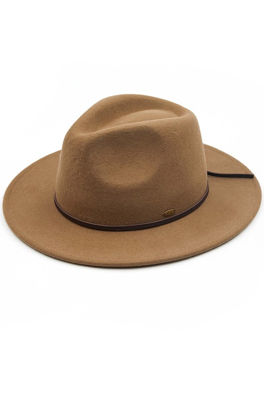 Wool Felt Panama Hat With Leather Bow - Taupe