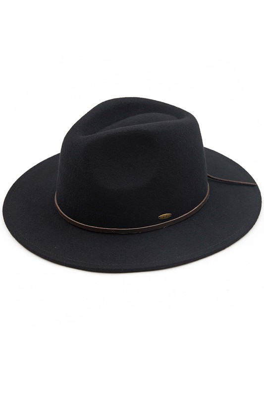 Wool Felt Panama Hat With Leather Bow - Black