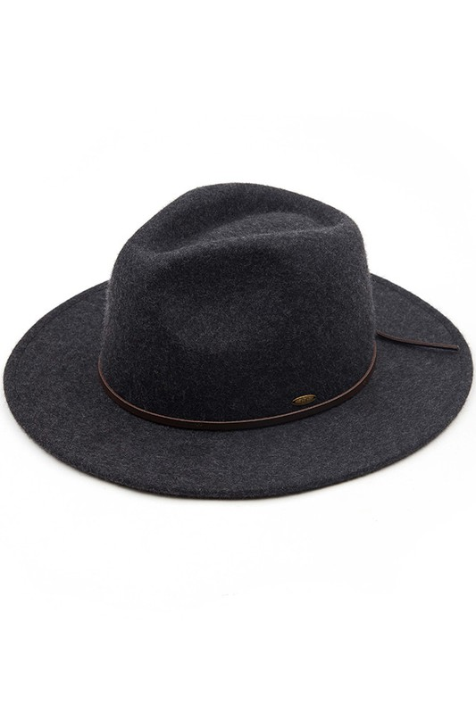 Wool Felt Panama Hat With Leather Bow - Heather Dark Grey