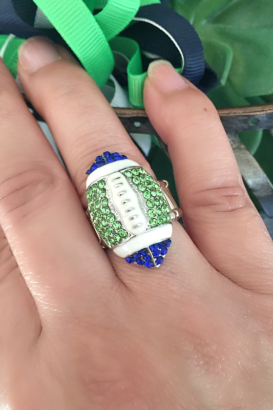 Football Bling Ring in Seahawks Colors