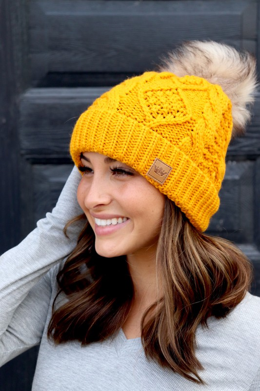 Panache Mustard Cable Knit Beanie