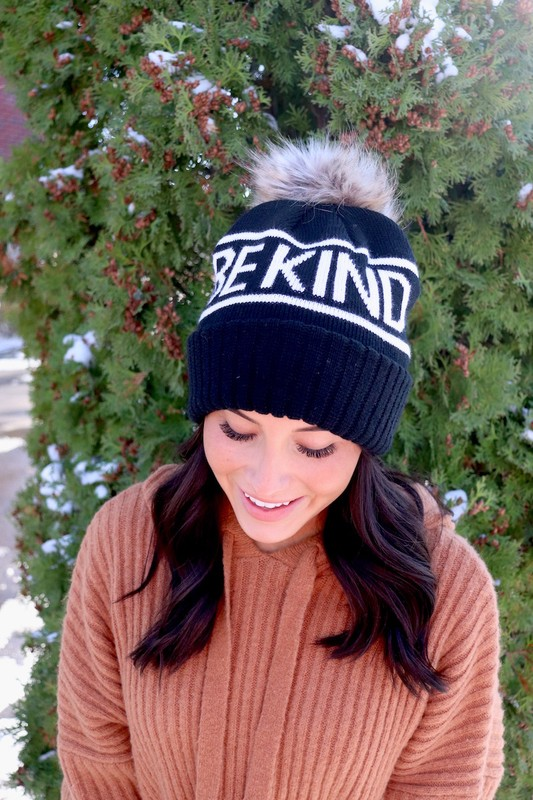 Panache Be Kind Black Knit Beanie With Pom Pom