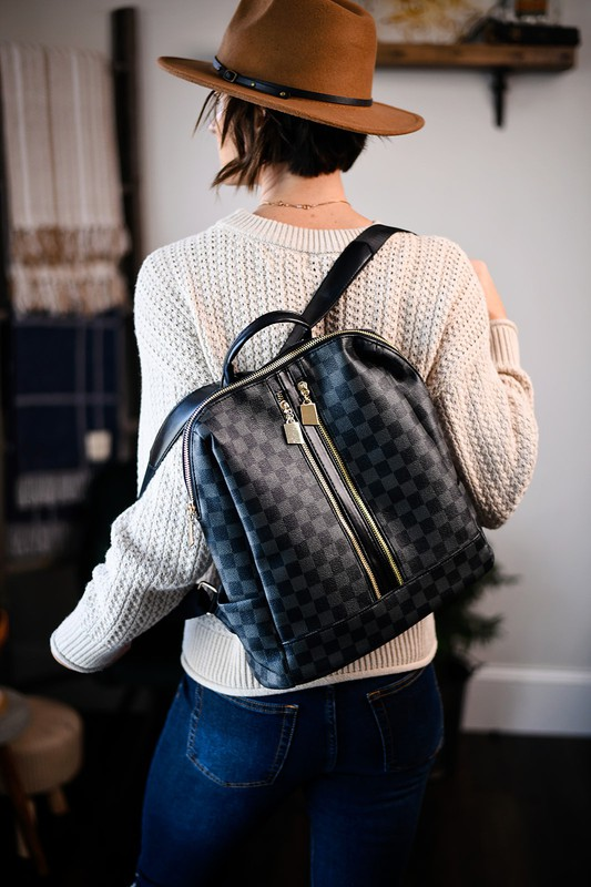 The Luxe Life Black Checkered Backpack
