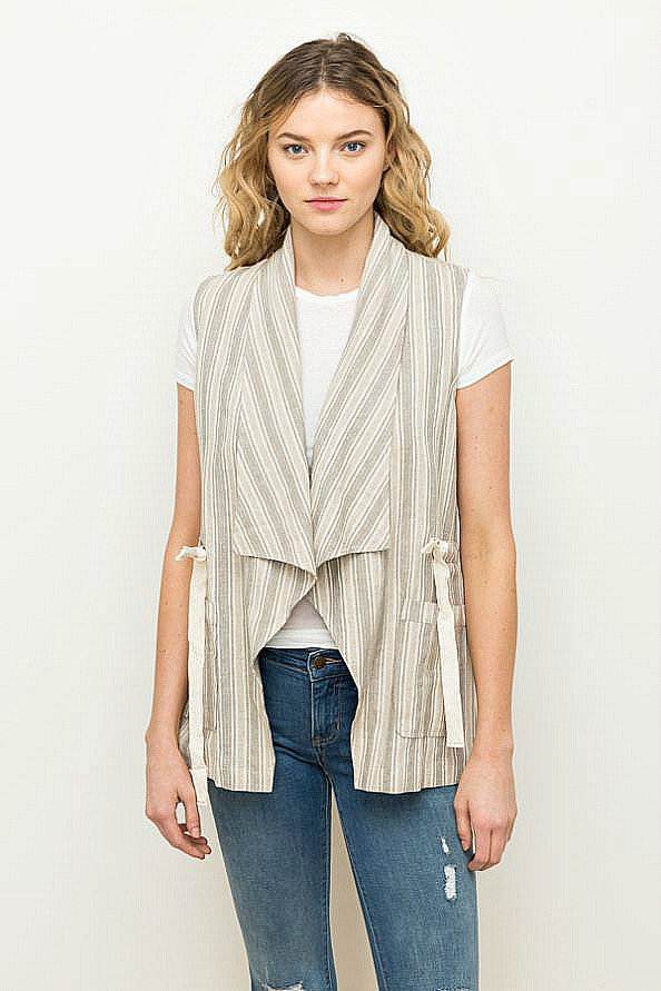 Linen Stripe Vest by Mystree