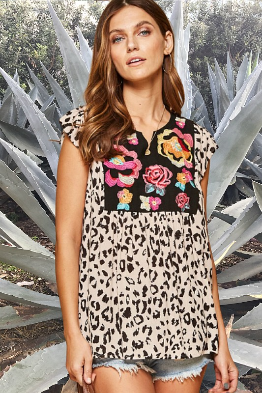 Savannah Jane Leopard and Floral Embroidered Top