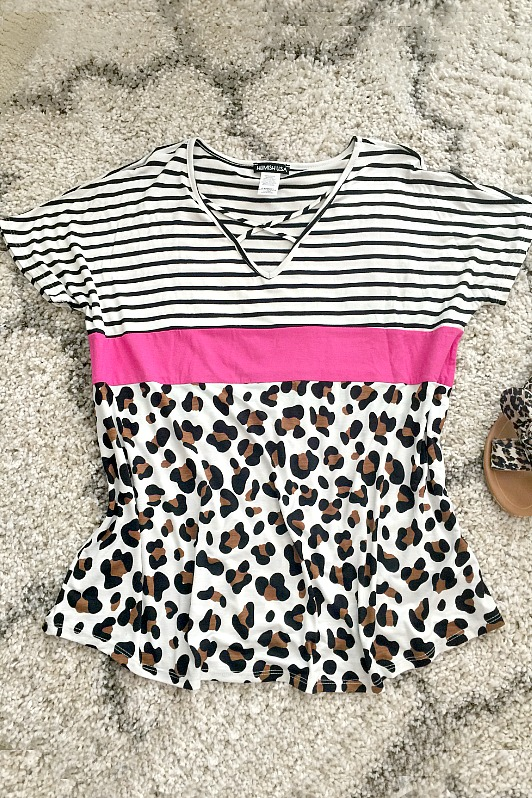 Criss Cross and Leopard Striped Top