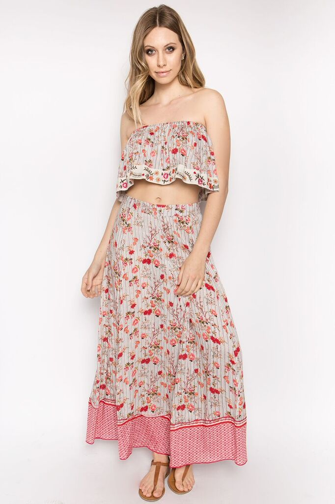 Bohemian Paradise Embroidered Top and Skirt Set