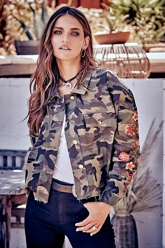 Boxy Camo and Floral Cropped Jacket With Sequins