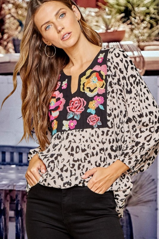 Savanna Jane Floral Embroidered and Leopard Top
