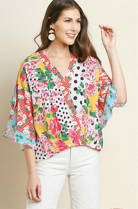 Sunray Mix Ruffled Top by Umgee