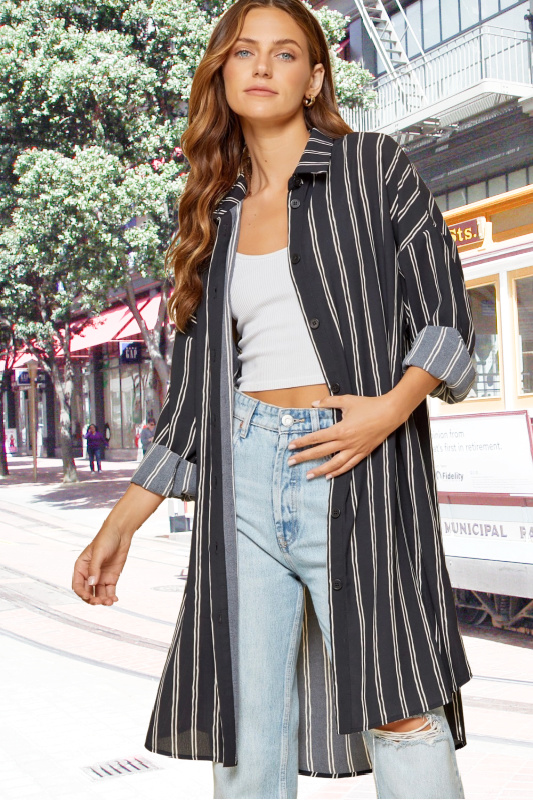 Black & Ivory Striped Button Down Duster