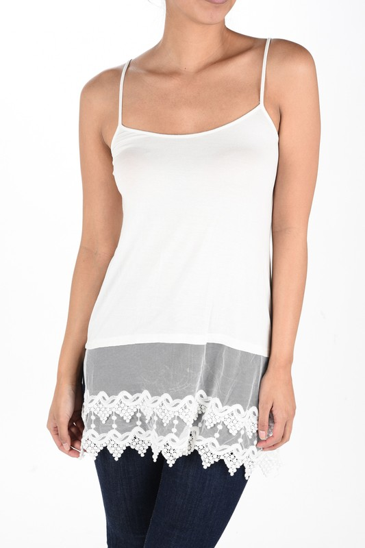 Pointed Lace Top Extender - Ivory