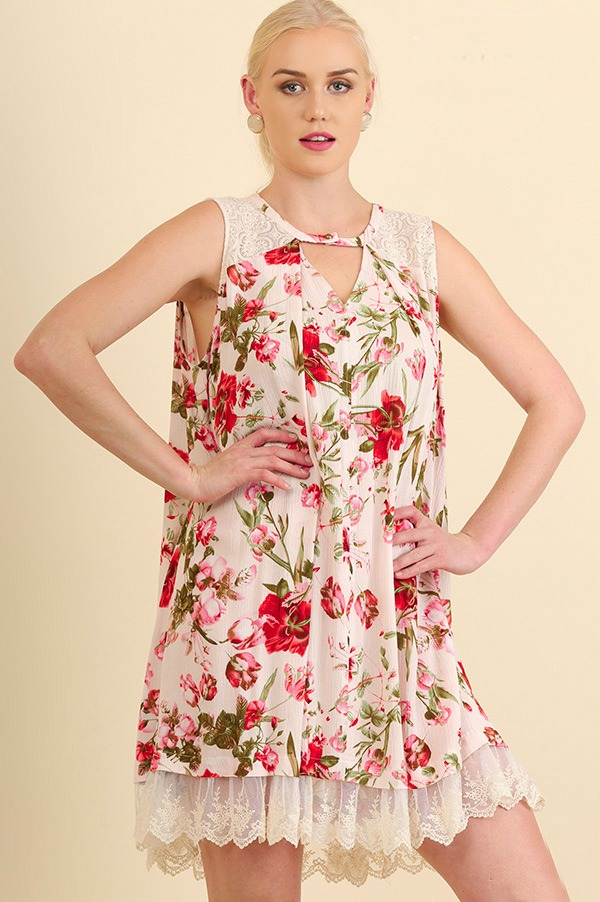 Plus Size Believe It Or Not Floral Dress - Blush