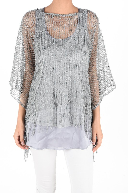 Mesh With Me Poncho - Grey