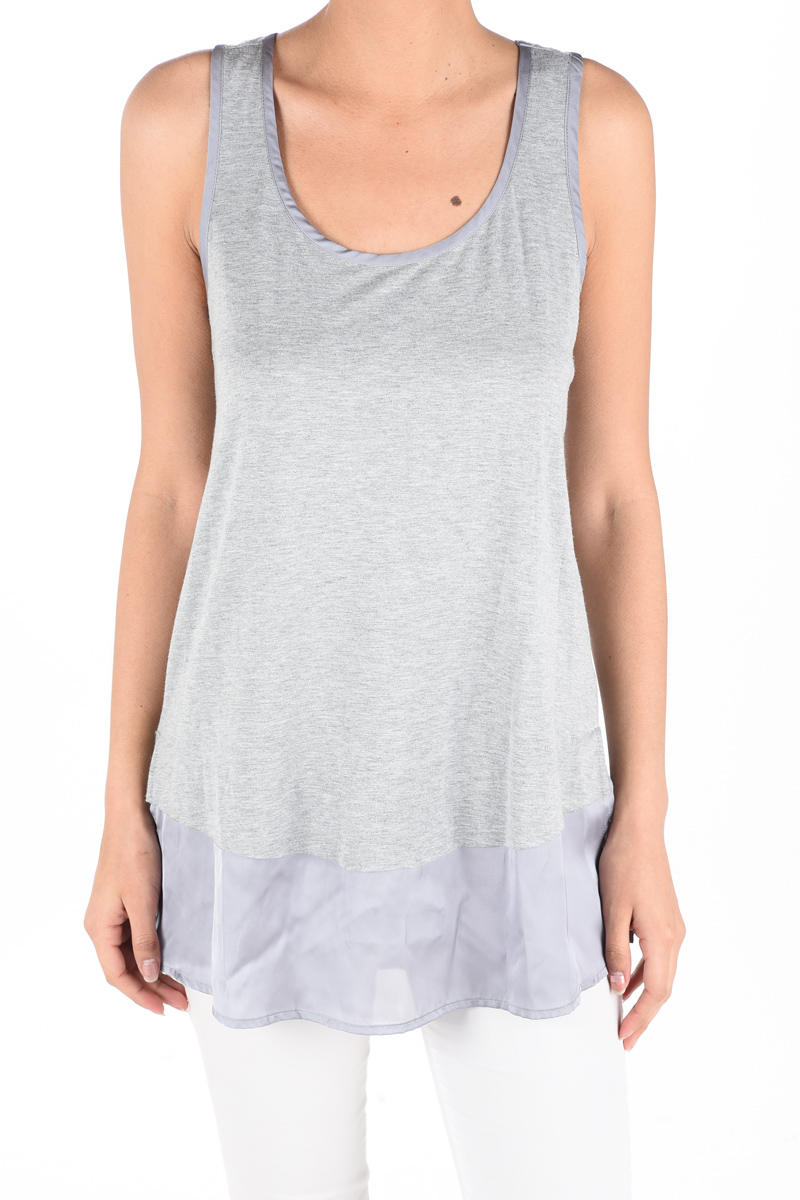 Satin Hem Tank Top - Grey