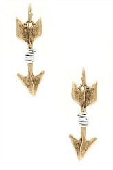 Hammered Arrow Earrings - Oxidized Gold