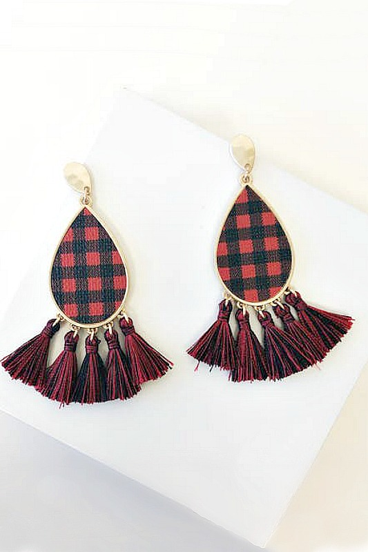 Buffalo Check Tassels - Red
