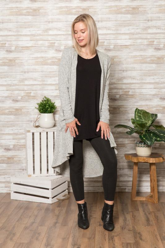 Hacci Duster Cardigan - Heather Grey