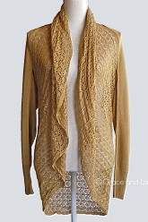 Grace and Lace Light Weight Two Fit Knit Cardigan/Poncho - Mustard