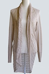 Plus Size Light Weight Two Fit Knit Cardigan/Poncho -Heathered Oat