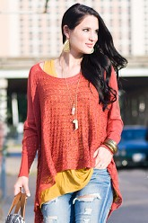 Grace and Lace Light Weight Two Fit Knit Cardigan/Poncho - Spice