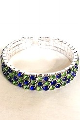 3 Row Seahawks Checkerboard Bracelet